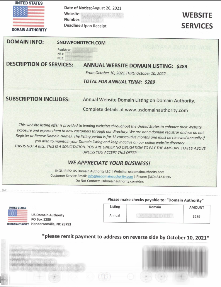 Domain Listing Scam